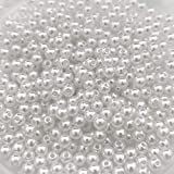 White Pearl Beads,3000 Pcs 4mm Tiny Smooth Craft Pearl Bead Round Loose Spacer Beads for Bracelet Necklace Jewelry Making