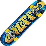 Enuff Skateboard mit durchgängigem Graffiti-Aufdruck, gelb/blau,...
