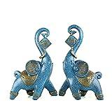 wlsdhjfo Estatua Decorativa Resina 2PCS / Set Elefante DECORACIÓN Ornamento DE Escritorio Sala DE Estar Entrada GABINETE DE Vino Lucky Feng Shui Elefante DECORACIÓN