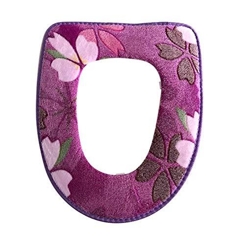Piero 1 STKS Bloemenprint Toiletbrilhoezen Kussen Warm Comfortabel Koraal Fluwelen Overjas Toiletbehuizing Badkamer, paars