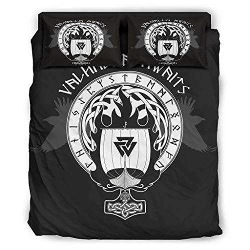 Juego de ropa de cama Viking de 4 piezas, funda de almohada y funda de edredón, suave microfibra, color blanco, 240 x 264 cm