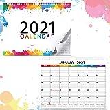 2021 Kalender Monatlich Wand Kalender Jahres Kalender Planer für Büro, Schule, Hause, Regenbogen Farben, Dickes Papier Drahtgebunden, 10 x 13 Zoll