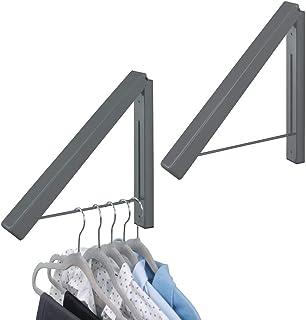 mDesign Barre de penderie pour la buanderie (Lot de 2) – Tringle à vêtements Pliable en métal pour Le Nettoyage Chimique –...