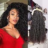 Eiazalin 100% Brazilian Unprocessed Virgin Kinky Curly Human Hair Weave 3 Bundles Deep Curly Hair Extensions Mixed Length 20'18'16'
