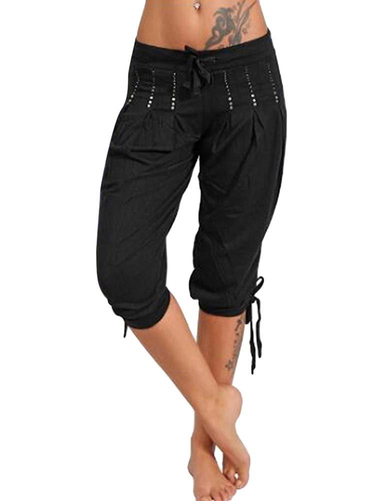 Femme Pantacourt Ample Pantalons Courts 3/4 Bermudas Genou Longueur Casual Eté Capri Shorts Elastique Jogging Sport Pantalons