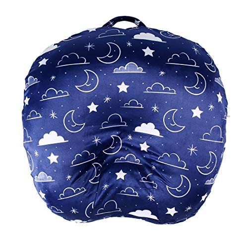Minky Removable Newborn Lounger Cover Nursing Pillow Slipcover Super Soft Snug Fits Boppy Lounger (Navy Blue, Stars and Clouds)