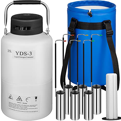 BestEquip 3L Liquid Nitrogen Container,Aluminum Alloy Liquid Nitrogen Tank ,Static Cryogenic Container,Liquid Nitrogen Container with 6 Canisters and Carry Bag