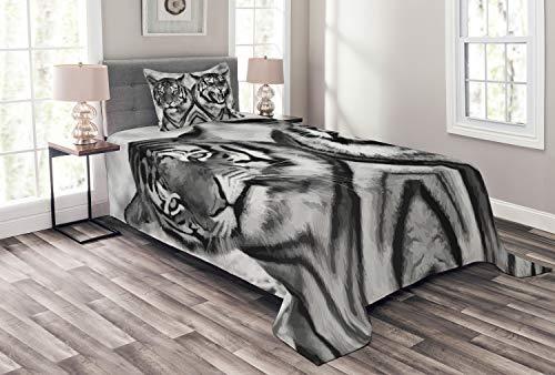 ABAKUHAUS Safari Tagesdecke Set, Aggressive Wild Tiger, Set mit Kissenbezug Moderne Designs, für Einselbetten 170 x 220 cm, Hellgrau Schwarz