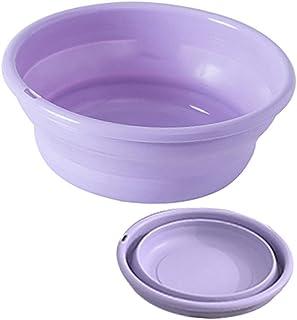折りたたみ 洗い桶 洗面器 持ち易い 足湯 湯おけ たらい おりたたみ洗面器 シリコン キッチン 洗濯 風呂 足浴 掃除 (パープル,10.5*21*29CM)