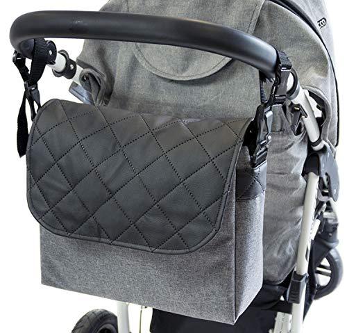 Sac-poussette sac à langer grande capacité pour la poussette un sac de voyage un sac pour les accessoires une mallette de transport Motif Gris Len en cuir noir [059]