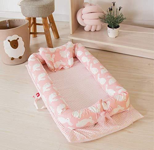 PONOA BB-1 ベッドインベッド(防水シーツ付き)枕付き 添い寝ベッド ベビー布団 ベビーベッド ベッドガード (ピンク・うさぎ)