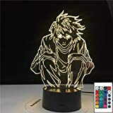 Lámpara De Ilusión 3D Luz De Noche Led Manga Death Note L Lawliet Figura Para Anime Decoración De Dormitorio Idea Cool Kids Niño Dormitorio Lámpara De Mesa Ryuk