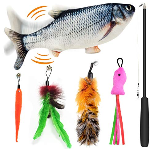 FAYOGOO Dancing Fish Cat Toy and Cat Wand Toy, Realistic Moving Fish Toy for Cats and Kids, Cat Feather Toys, Electronic Cat Toys with Catnip, Interactive Cat Toy Set for Kitty Exercise