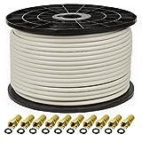 PremiumX PROFI PRO 100m cable coaxial 135 dB 5 vías blindado, cable de antena PURE COBRE 135dB + 10 conector F 8.00mm en color 'GOLD' SIN CARGO
