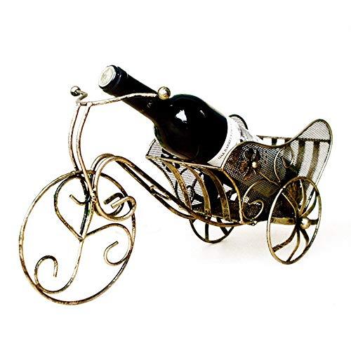 zxcvb Estante de vino de hierro, retro con tres ruedas, estilo europeo, creativo, para el hogar, almacenamiento, decoración de escritorio (color: latón, tamaño: 42 x 20 cm)