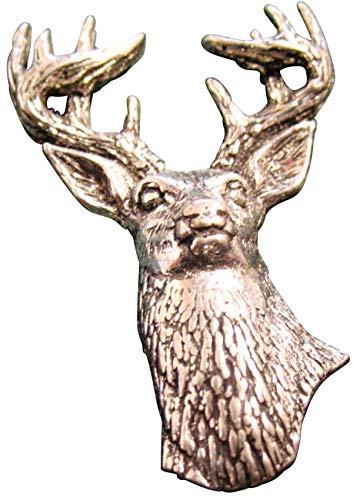 Brazil Lederwaren Ansteckpin Hirsch | für den Hut oder das Revers | Perfekt zum Jagd-Outfit | Anstecker Pin Button | Altsilber