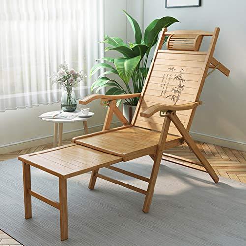 Silla plegable de tumbona, 2 en 1 Sillas de madera Adirondack Silla reclinable con respaldo ajustable de 5 engranajes / Sillas plegables de bambú / Roadtrip Rocker para jardín de patio al aire libre