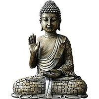 釈迦牟尼仏の装飾置物、彫像の彫刻、ブロンズ仕上げの樹脂-C 17x21cm(7x8inch)