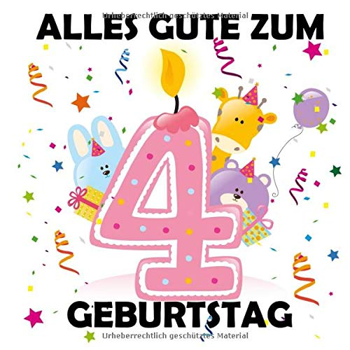 Alles Gute zum 4 Geburtstag: Gästebuch zum Eintragen, Tolle Erinnerung, Für bis zu 100 Gäste,...