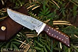 (14 5/18) DKC-500 Cougar Damascus Steel Bowie Hunting Knife 9' Long, 4' Blade 7.4 oz ! Rosewood Handle