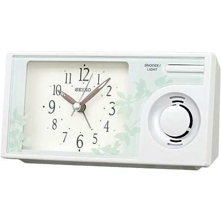 セイコークロック 置き時計 白パール 本体サイズ: 7.6×14.9×5.4cm 目覚まし時計 アナログ ネイチャーサウンド QM749W
