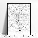 Kunstdrucke Leinwand Jena Deutschland Schwarz-Weiß-Stadt