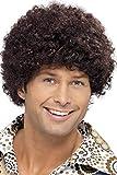 Smiffy's Smiffys-42015 Peluca del tío de la disco de los 70, Afro, color marrón, Tamaño único 42015