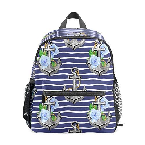 Mochila infantil para niños de 1 a 6 años de edad, mochila perfecta para niños y niñas con ancla de barco con flores y olas de mar a rayas