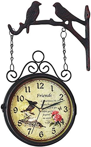 Reloj De Pared De Doble Cara, Reloj Retro Para Exteriores Con Espejo De Cristal A Prueba De Agua, Fácil Colgar Y Usar, Reloj De Jardín Preciso, Reloj De Estación Girado De 360 grados Para Decoración