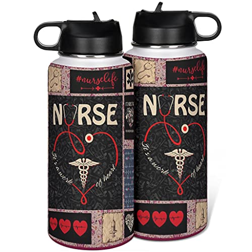 Cyliyuanye Amor enfermera termo aislado botella de agua deportiva con tapa de paja, boca ancha, taza térmica, botella blanca, 1000 ml