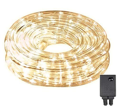 SALCAR LED Lichterschlauch 10m 240er LED Lichter mit 8 Modi Innen und Außenbereich Lauflichter für Saal, Garten, Weihnachten, Hochzeit, Party - Warmweiß Lichtschläuche