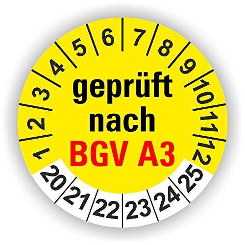 5-1.000 Stück Prüfplaketten Prüfetiketten Wartungsetiketten BGV A3 Prüfung Ø 30mm (Gelb 30 Stück)