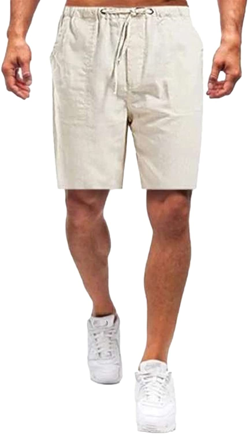 Men's Casual Workout Cotton Linen Shorts Elastic Waist Relaxed Fit Running Short Breathable Comfy Loose Cargo Short-Pant
