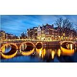 HSQMM cuadrado completo/redondo 5D Diy pintura de diamante Amsterdam Canal 3D bordado de diamantes imágenes de cristal de diamantes de imitación venta decoración 30x40cm