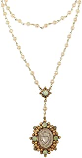 Oval Sacred Heart Rosary in Gold Pearl