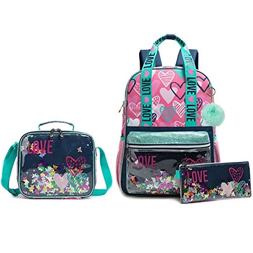 Wenlia Mochila para niñas estuche para lápices, bolso de hombro 3 en 1, mochila para estudiantes, letras de lentejuelas Regalos para niños