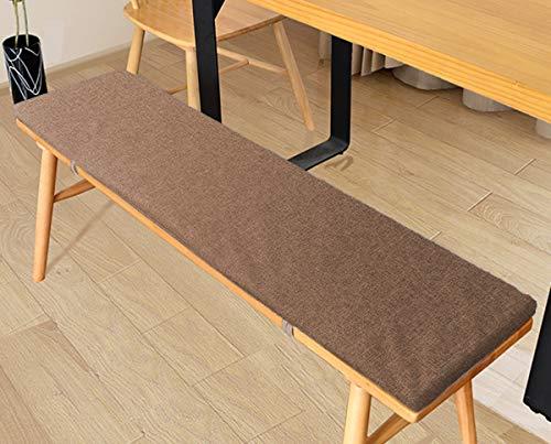 LRuilo Cojín de banco con lazos de fijación, cojín de jardín de 2 o 3 plazas, cojín de asiento de banco de 80/100/120 cm, cojín de silla para interior y exterior (marrón, 80 x 40 cm)