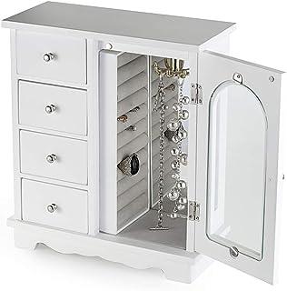 ZGZD صندوق مجوهرات خشبي منظم ماكياج واكسسوارات خواتم للبنات مع 4 أدراج وأبواب متأرجحة