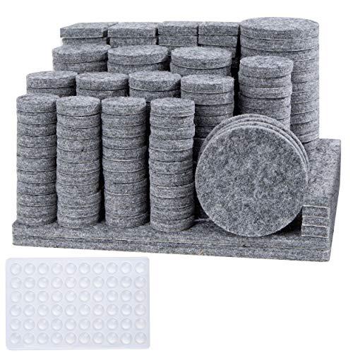 Almohadillas de Fieltro Adhesivo Protectores Anti-rasguños para Muebles Patas de Mesa, Sillas, Suelo, 248 Fieltros Adhesivos y 60 Lagrimas Silicona Adhesivas (Juego de 308)