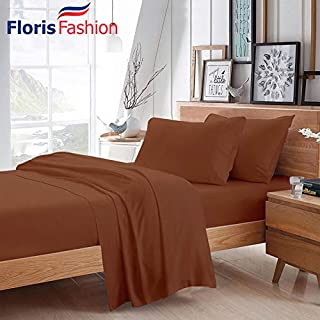 Floris Fashion Cal King 300TC 100% Egyptian Cotton Brick Red Solid 4 Piece [1 Top,1 Fitted,2 Housewife Pillowcases] Sheet Set Solid (Pocket Size: 23 inches) Easy Care Fabric