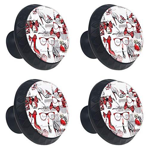 TIZORAX Tacón rojo Perfume gafas Perillas cajones