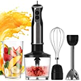 Wancle Immersion Hand Blender Set Stick Blender 16-Speed 4-in-1 With 500ml Food Grinder, 600ml Container, Egg Whisk, Puree Infant Food, Smoothies, Sauces and Soups , 304 Stainless Steel