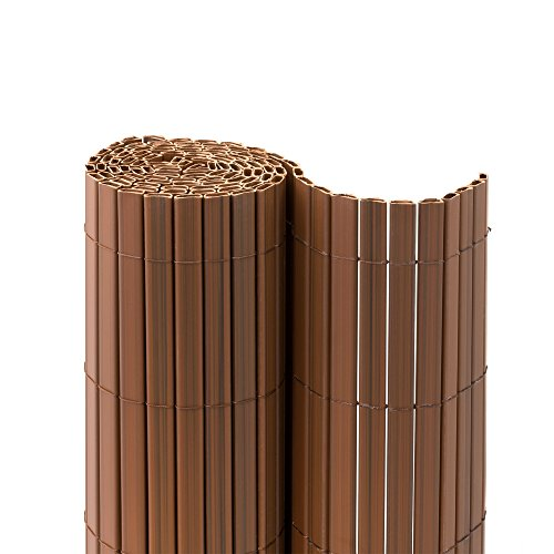 jarolift PVC Sichtschutzmatte Premium Sichtschutz Garten Balkon Terrasse Sichtschutzzaun Balkonverkleidung, inkl. Abdeckprofil, 140 x 300cm, Braun
