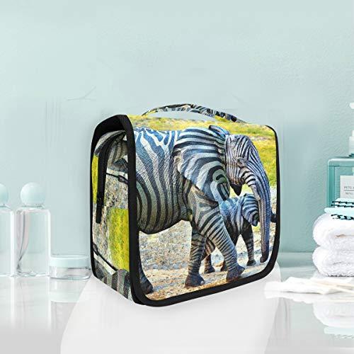 Trousse de maquillage de maquillage Art Zebra Elephants Trousse de toilette de voyage