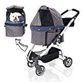 Detachable Pet Carrier Stroller for Dogs and Cats – 3-in-1 Travel Crate + Car Seat + Car...