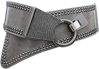TOOGOO Diagonal Pull Seal Black Leather Bandwidth Waist Punk Wind Wild Wide Fashion with Hook Decoration Rivet Versatile Girdle Black