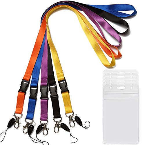 YOUOWO 5 Pack Neck Lanyards with Badge Holder Lanyard for Keys Strap Lanyard for ID Badges Holder Key Women Men Cell Phones USB Whistles Black,Blue,Yellow,Orange