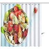 Cortina De Ducha Ensalada De Frutas Frescas con Queso Feta De Granola Casero Miel En Plato para Juegos De Baño De Poliéster Vegano Gráfico Saludable 122X183CM