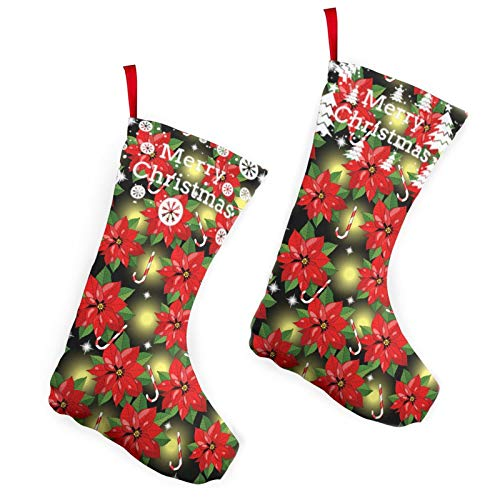 Pummbaby Poinsettia Christmas Red Candy Cane Fireflymerry Christmas Stockings Xmas Socks Ornament Themed 10 Inch Double 2pcs Large Pair Formal Unique Female Male Hanger Pole