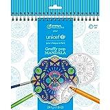 Avenue Mandarine CO202C – Un Cuaderno Graffy Pop Mandala Unicef con 24 Mandalas precortadas de diámetro 18 cm (12 diseños x 2) Papel Dibujo Clairefontaine 250 g